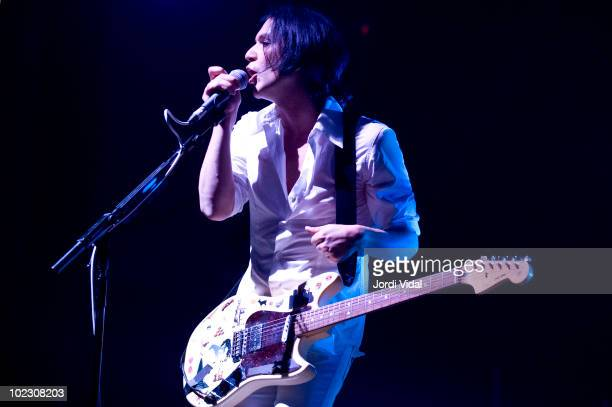 Brian Molko of Placebo performs on stage at Palau Sant Jordi on June 22 2010 in Barcelona Spain