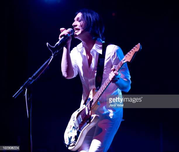 Brian Molko of Placebo performs on stage at Palau Sant Jordi on June 22, 2010 in Barcelona, Spain.