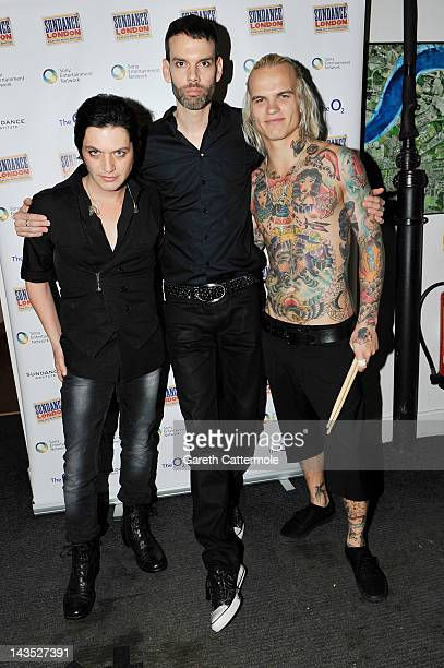 Brian Molko Stefan Olsdal and Steve Forrest of Placebo pose backstage before performing during Sundance London at Indigo2 at O2 Arena on April 28...