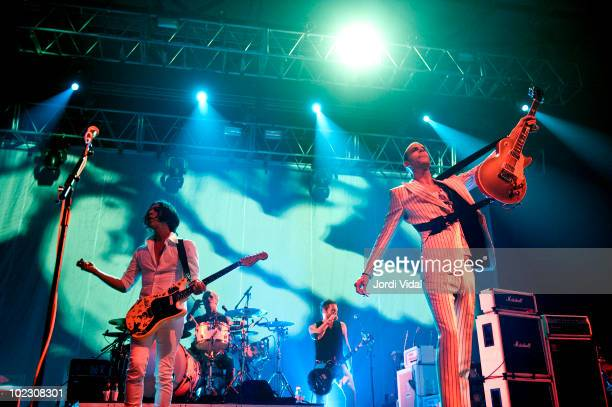 Brian Molko, Steve Forrest and Stefan Olsdal of Placebo performs on stage at Palau Sant Jordi on June 22, 2010 in Barcelona, Spain.
