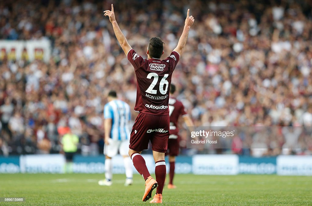 Brian Montenegro of Lanus celebrates after scoring the first goal of his team during a match between Racing Club and Lanus as part of Copa del Bicentenario de la Independencia 2016 at Presidente Peron Stadium on August 14, 2016 in Avellaneda, Argentina.