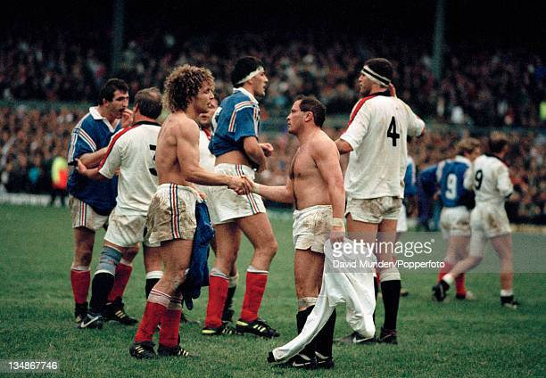 Brian Moore of England shakes hands with JeanFrancois Tordo of France after the Rugby Union International at Twickenham in London on the 16th January...