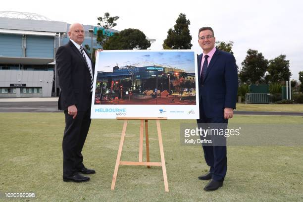 Brian Morris Melbourne Olympic Parks CEO and John Eren MP Minister for Sport Tourism and Major Events unveil the new name of Melbourne Arena at...