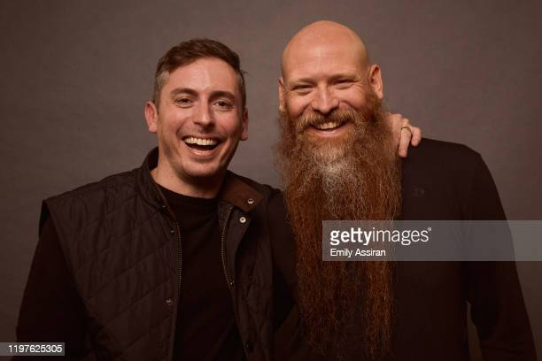 Brian Morrison and Mark Stafford from Bastards' Road pose for a portrait at the Pizza Hut Lounge on January 26 2020 in Park City Utah
