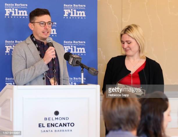 Brian Morrison and Rachel Tennant speak at the Awards Breakfast during the 35th Santa Barbara International Film Festival at El Encanto on January 25...