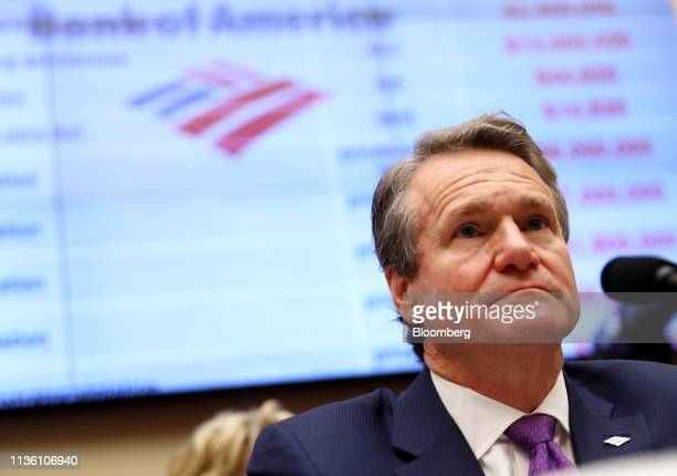 Brian Moynihan chief executive officer of Bank of America Corp listens during a House Financial Services Committee hearing in Washington DC US on...