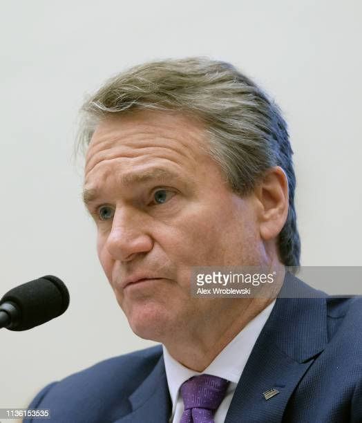 Brian Moynihan chief executive officer of Bank of America Corp listens during a House Financial Services Committee hearing on April 10 2019 in...