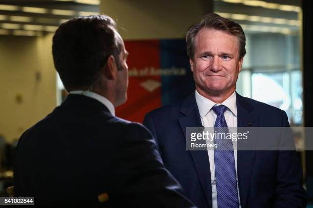 Brian Moynihan chief executive officer of Bank of America Corp listens during a Bloomberg Television interview in New York US on Wednesday Aug 30...