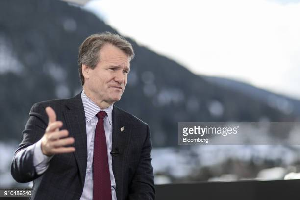 Brian Moynihan chief executive officer of Bank of America Corp gestures as he speaks during a Bloomberg Television interview on the closing day of...