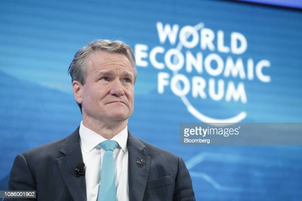 Brian Moynihan chief executive officer of Bank of America Corp looks on during a panel session on the opening day of the World Economic Forum in...