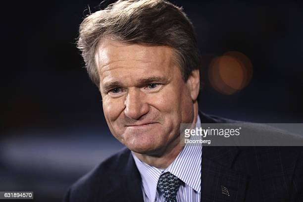 Brian Moynihan chief executive officer of Bank of America Corp looks on during a Bloomberg Television interview at the World Economic Forum in Davos...