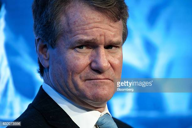 Brian Moynihan chief executive officer of Bank of America Corp looks on during a panel session at the World Economic Forum in Davos Switzerland on...