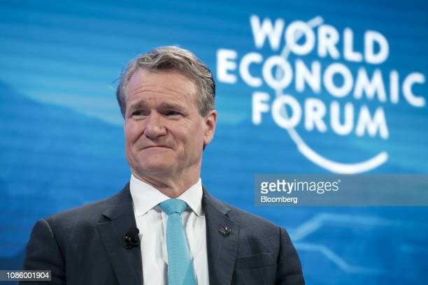 Brian Moynihan chief executive officer of Bank of America Corp reacts during a panel session on the opening day of the World Economic Forum in Davos...