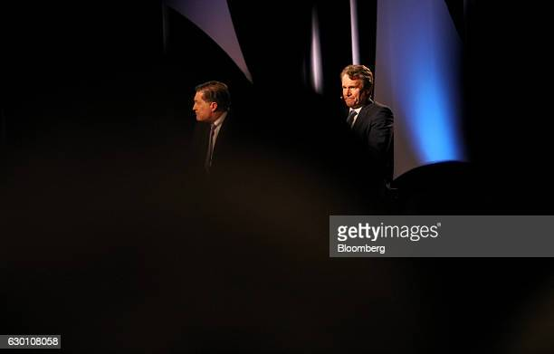 Brian Moynihan chief executive officer of Bank of America Corp right sits next to Jeffrey Lacker president of the Federal Reserve Bank of Richmond...