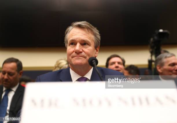 Brian Moynihan chief executive officer of Bank of America Corp sits before the start of a House Financial Services Committee hearing in Washington DC...