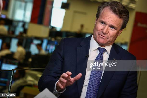 Brian Moynihan chief executive officer of Bank of America Corp speaks during a Bloomberg Television interview in New York US on Wednesday Aug 30 2017...