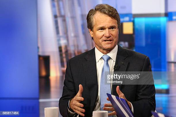 Brian Moynihan former chairman and president of Bank of America Corp speaks during a Bloomberg Television interview in New York US on Thursday Aug 4...