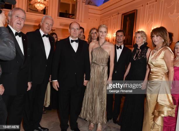 Brian Mulroney Galen Weston Prince Albert II of Monaco Princess Charlene Hliary Weston and Mila Mulroney attend RitzCarlton Montreal's 100th...