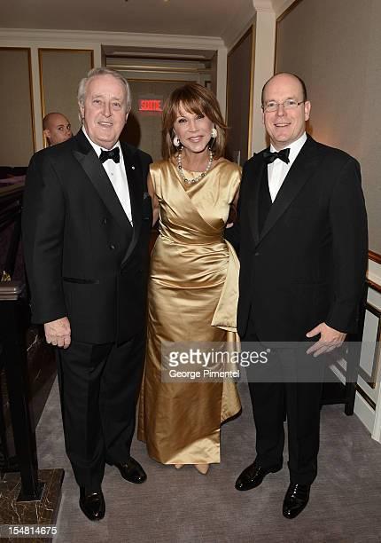 Brian Mulroney Mila Mulroney and Prince Albert II of Monaco attend RitzCarlton Montreal's 100th Anniversary Gala at RitzCarlton Hotel on October 26...