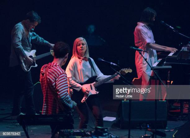 Brian Murphy Alec O'Hanley Molly Rankin and Kerri MacLellan of Alvvays perform at The Roundhouse on February 23 2018 in London England