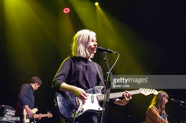 Brian Murphy Molly Rankin and Kerri MacLellan of Alvvays perform at O2 Shepherd's Bush Empire on September 11 2015 in London England