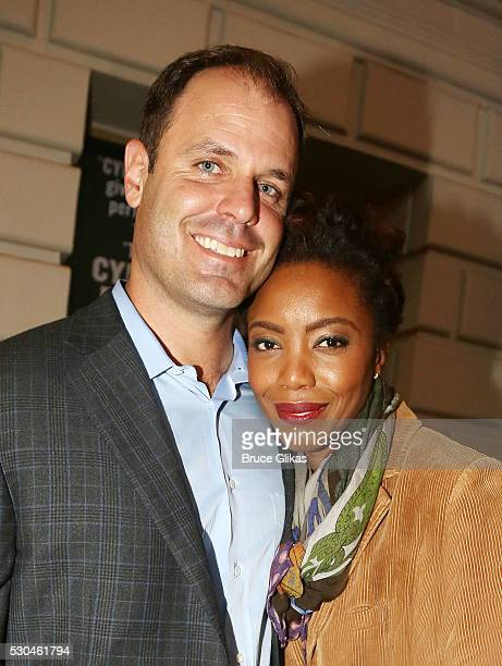 Brian Musso and wife Tony Grammy Winner Heather Headley leave the theatre after Headley's Opening Night curtain call as Shug Avery in The Color...
