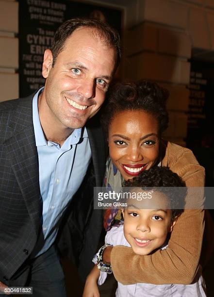 Brian Musso wife Tony Grammy Winner Heather Headley and son John David Musso leave the theatre after Headley's Opening Night curtain call as Shug...
