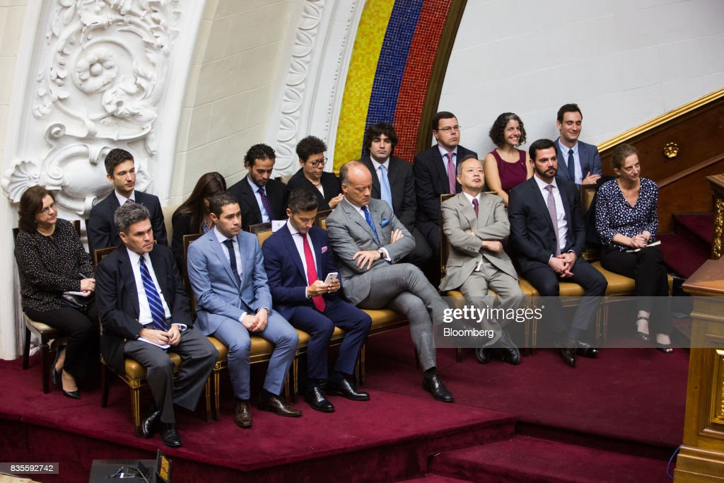 Brian Naranjo, deputy chief of mission at U.S. Embassy in Caracas, front left, and other diplomats attend a special session of the National Assembly of Caracas, Venezuela, on Saturday, Aug. 19, 2017. Venezuela's new legislative super body took over the functions of the country's only remaining opposition-run institution -- the National Assembly -- by approving a decree that empowers it to pass laws on a range of issues. Photographer: Wil Riera/Bloomberg via Getty Images