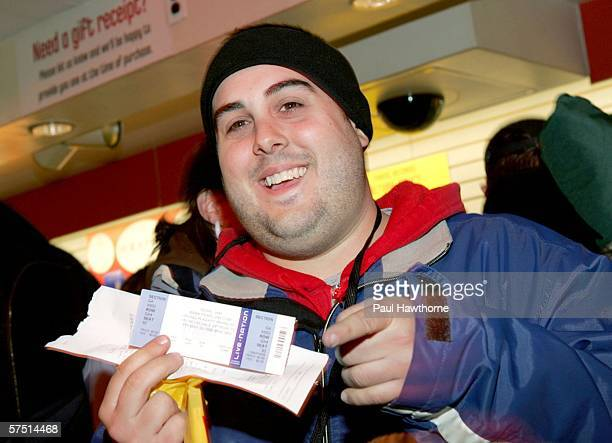 Brian Nichols of Westchester, New York proudly displays the first concert ticket after standing on line for over 24 hours to buy Pearl Jam's new...