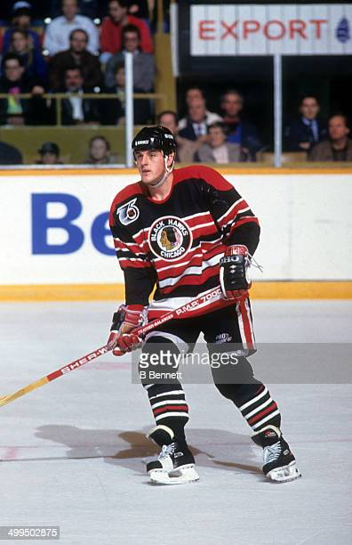 Brian Noonan of the Chicago Blackhawks skates on the ice during an NHL game against the Toronto Maple Leafs on November 16 1991 at the Maple Leaf...