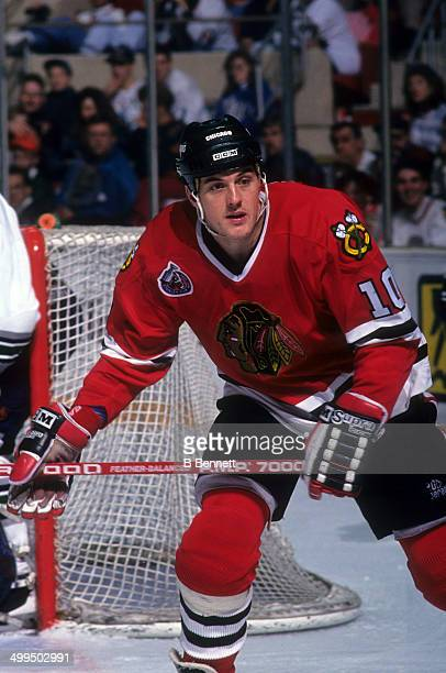Brian Noonan of the Chicago Blackhawks skates on the ice during an NHL game against the Hartford Whalers on January 23 1993 at the Hartford Civic...