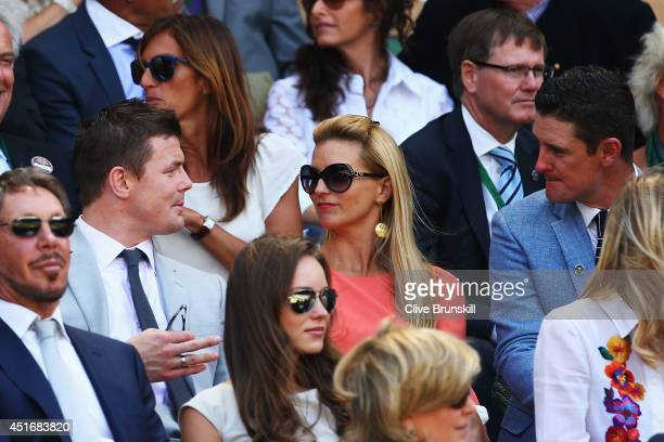 Brian O'Driscoll Amy Huberman and Justin Rose in the royal box for the Gentlemen's Singles semifinal match between Novak Djokovic of Serbia and...