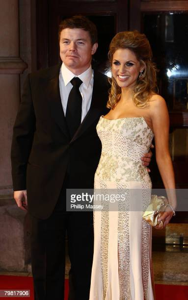 Brian O'Driscoll and Amy Huberman arrive for the Irish Film Television Awards in the Gaiety Theatre on February 17 2008 in Dublin Ireland