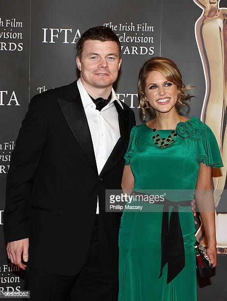 Brian O'Driscoll and Amy Huberman attend The Irish Film Television Awards on February 20 2010 in Dublin Ireland