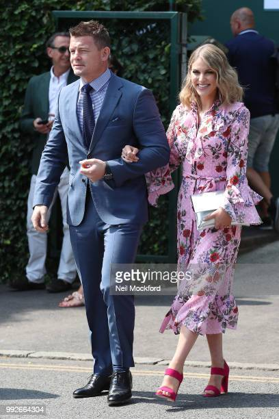 Brian O'Driscoll and Amy Huberman seen arriving at Wimbledon Day 5 on July 6 2018 in London England