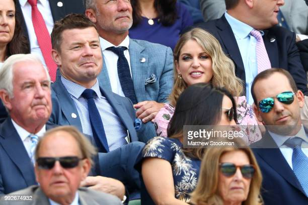 Brian O'Driscoll and wife Amy Huberman attend day five of the Wimbledon Lawn Tennis Championships at All England Lawn Tennis and Croquet Club on July...