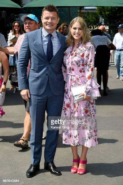 Brian O'Driscoll and wife Amy Huberman attend day five of the Wimbledon Tennis Championships at the All England Lawn Tennis and Croquet Club on July...