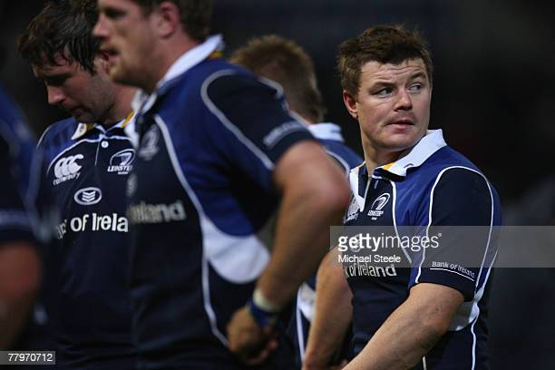 Brian O'Driscoll captain of Leinster walks off dejectedly at the final whistle during the Heineken Cup Pool 6 match between Toulouse and Leinster at...