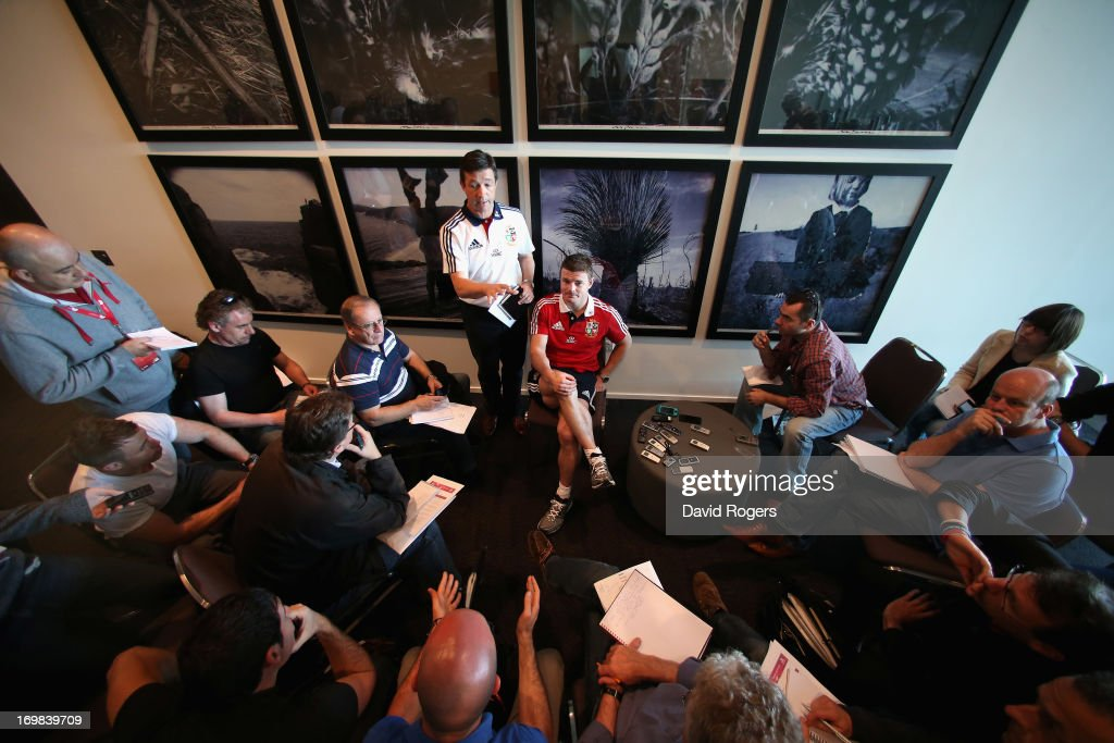 Brian O'Driscoll, match captain for the game against Western Force talks to the media during the British and Irish Lions media conference held at the Convention Centre on June 3, 2013 in Perth, Western Australia.