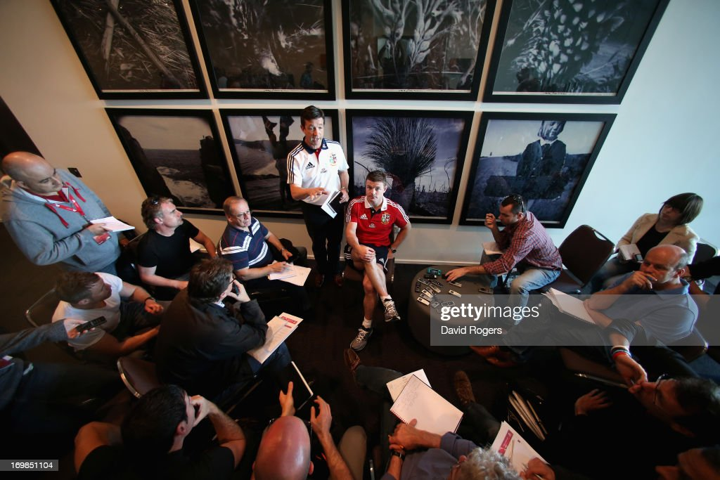 Brian O'Driscoll, match captain for the match against Western Force talks to the media during the British and Irish Lions media conference held at the Convention Centre on June 3, 2013 in Perth, Western Australia.