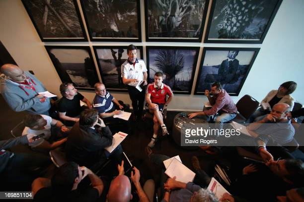 Brian O'Driscoll match captain for the match against Western Force talks to the media during the British and Irish Lions media conference held at the...