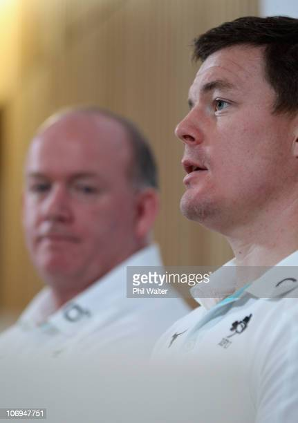 Brian O'Driscoll of Ireland and head coach Declan Kidney hold a press conference at Aviva Stadium on November 18 2010 in Dublin Ireland