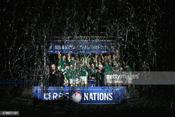 Brian O'Driscoll of Ireland celebrates with his team-mates as they lift the trophy after winning the six nations championship with a 22-20 victory...