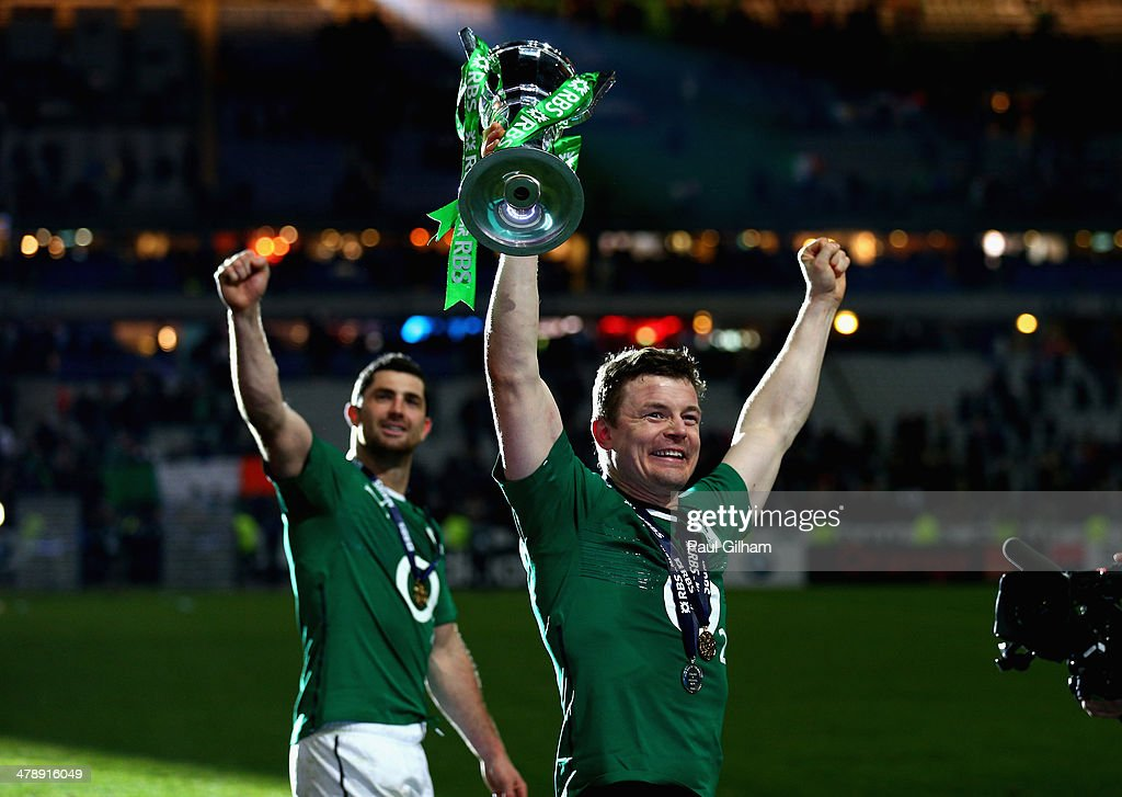 Brian O'Driscoll of Ireland celebrates with the trophy after winning the six nations championship with a 22-20 victory over France during the RBS Six Nations match between France and Ireland at Stade de France on March 15, 2014 in Paris, France.
