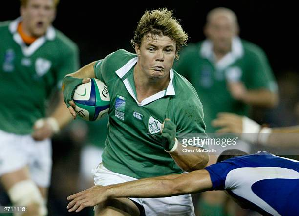 Brian O'Driscoll of Ireland drives forward during the Rugby World Cup Quarter Final 3 match between France and Ireland at the Telstra Dome November...