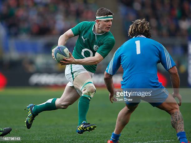 Brian O'Driscoll of Ireland in action during the RBX Six Nations match between Italy and Ireland at Stadio Olimpico on March 16 2013 in Rome Italy
