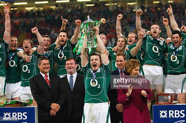 Brian O'Driscoll of Ireland lifts the trophy after Ireland won the Grand Slam during the RBS 6 Nations Championship match between Wales and Ireland...