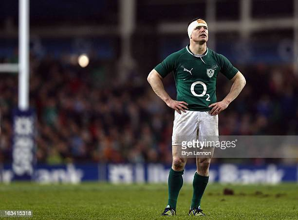 Brian O'Driscoll of Ireland looks on during the RBS Six Nations match between Ireland and France at the Aviva Stadium on March 9 2013 in Dublin...