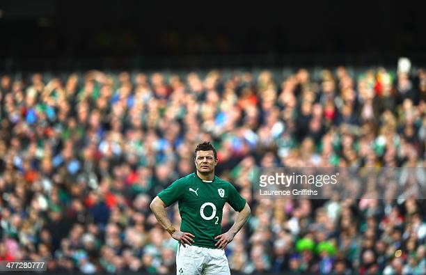 Brian O'Driscoll of Ireland looks on during the RBS Six Nations match between Ireland and Italy at Aviva Stadium on March 8 2014 in Dublin Ireland