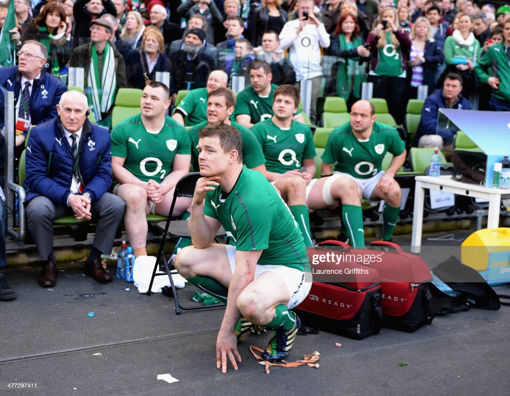 Brian O'Driscoll of Ireland looks on during the RBS Six Nations match between Ireland and Italy at Aviva Stadium on March 8, 2014 in Dublin, Ireland.